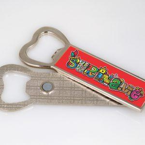 Fles opener Magneet <BR> SurinameCultuurMix-Rood