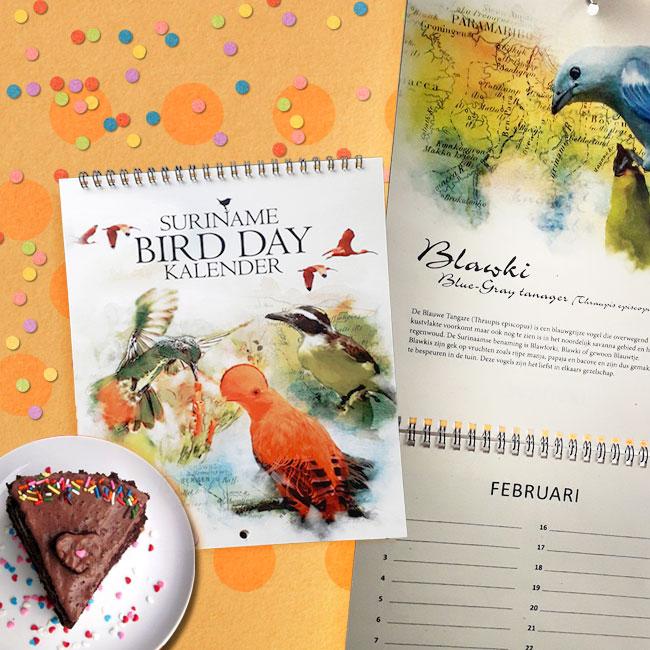 verjaardagskalender surinaamse vogels, suriname Birds calender, suirinaamse souvenirs, surinaams kado