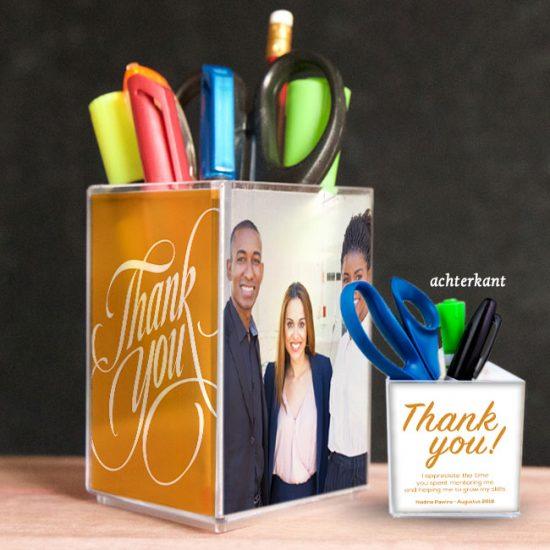 penhouder, pennenbak, kado, surinaams, bedankt, thank you, gepersonaliseerd geschenk
