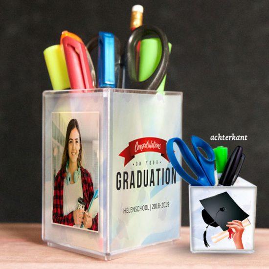 penhouder, pennenbak, kado, surinaams, geslaagd, graduation, gepersonaliseerd geschenk