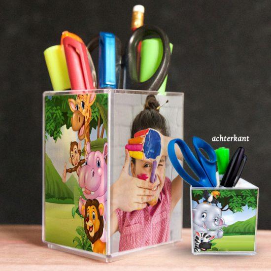 penhouder, pennenbak, kado, surinaams, gepersonaliseerd geschenk, safari animals kids