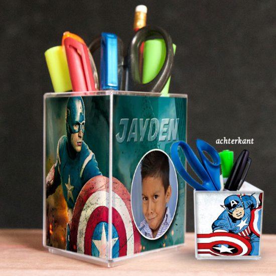 penhouder, pennenbak, kado, surinaams, gepersonaliseerd geschenk, captain america, avengers