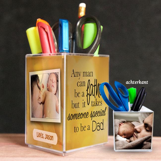 penhouder, pennenbak, kado, surinaams, vaderdag, gepersonaliseerd geschenk