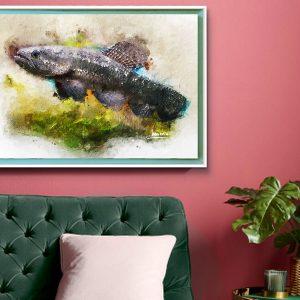surinaamse digitale kunst<BR>surinaamse vis_Anjumara (50x70cm)