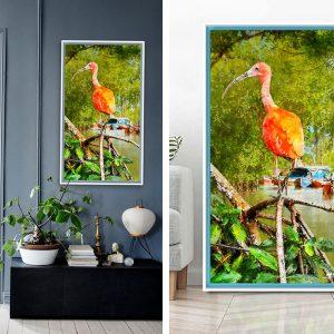 surinaamse digitale kunst<BR>rode ibis (50x100cm)