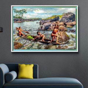 surinaamse digitale kunst<BR>inheemsen (130x85cm)