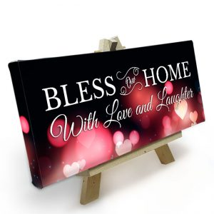 Mini Canvas met Easle<BR>Bless our Home