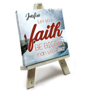 Mini Canvas met Easle<BR>Let Faith be Bigger